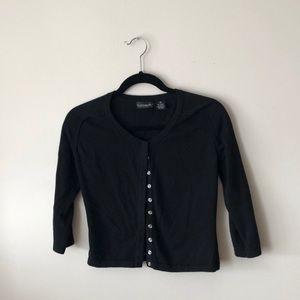 black snap front cardigan -S